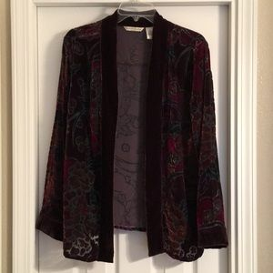 French Laundry 1X silk blend velvet sheer cardigan